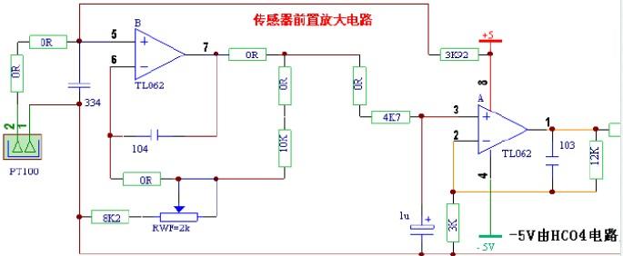pt100温度传感器应用原理电路图