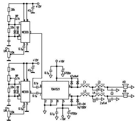 采用d类开关的音频功率放大器电路【库ic网(qooic)】