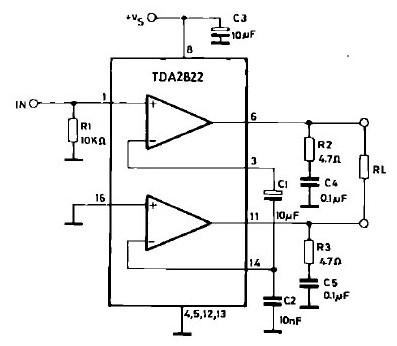 tda2822单声道功放电路图