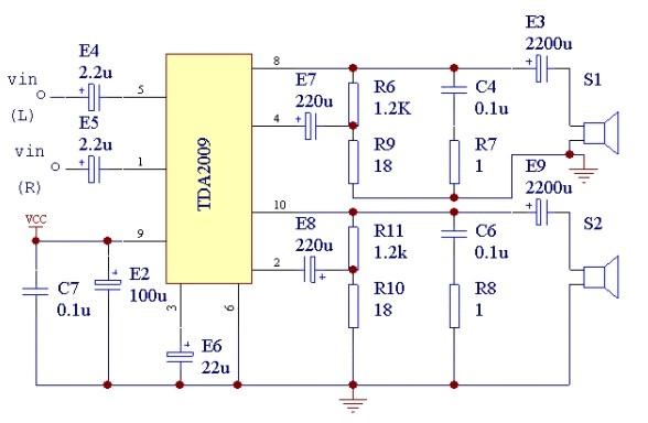 TDA2009是一种较为常见且价格实惠的高保真功放集成块。额定功率为210W.电源电压为8~28V.最大输出电流为3.5A.具有过热保护电路。(210W,THD=0.5%)   据以往经验来看,效果还是很不错的,没有出任何故障。当然,如地线设计技巧篇章介绍的,前提是地线设计要合理,另外虽其发热很小,还是要注意散热。电路图如下所示。