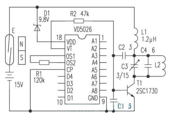 微型无线报警发射机的电路图