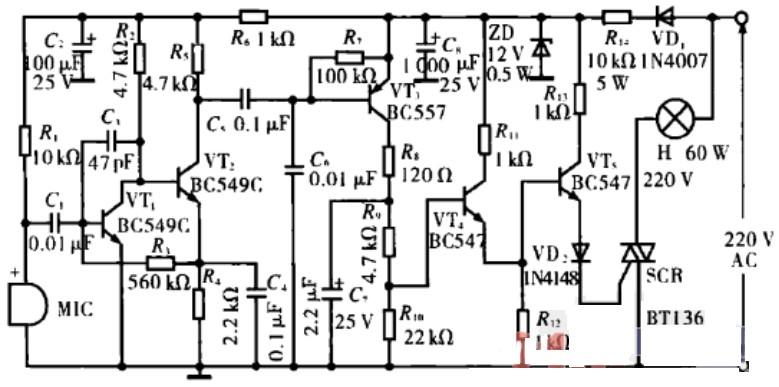 本文介绍的是一款声控式音乐同步开关电路图。本电路用电容式话筒来感测声音,并将它转换成电信号的变化,然后经由三极管VT1和VT2构成的直接耦合放大器放大后送至开关电路。开关电路由VT3、VT4和VT5构成,它只在电路感测到声音信号时才导通。如下图所示。