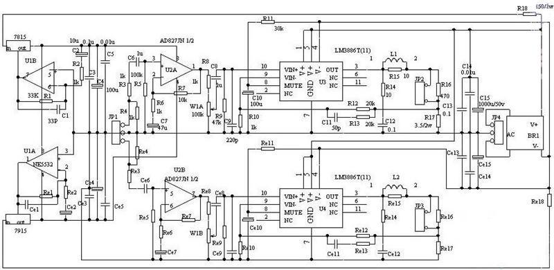 高保真音响功放电路    如下图所示,本电路采用前后级合并一体化设计