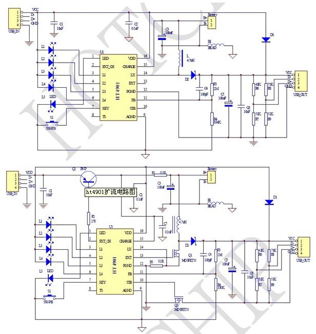 基于ht4901的充电管理模块电路图【库ic网(qooic)】