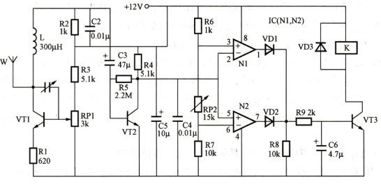 引言   利用lm358型集成运算放大器构成的微波开关控制器典型电路如图