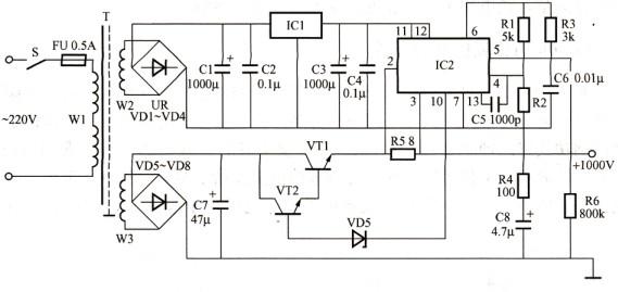 M723的高压直流稳压电源设计原理图片