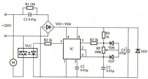 使vlc内光控晶闸管在市电过零