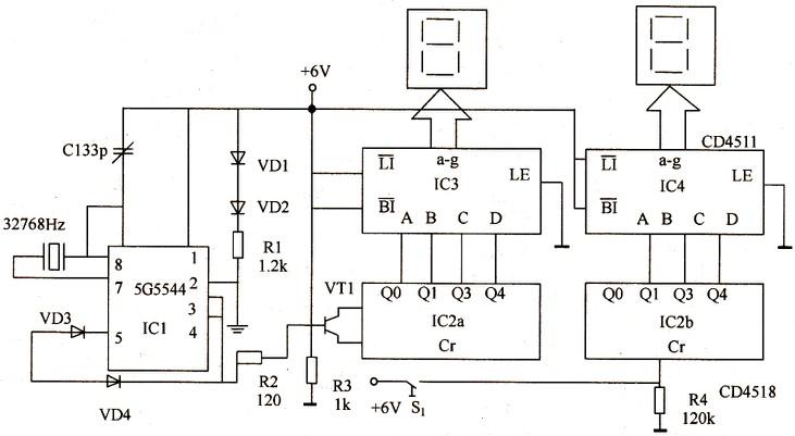 数字秒表电路设计原理图片