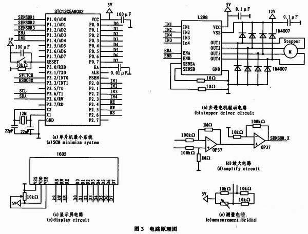 使用两级差模前置放大器,放大传感器的微弱信号,这种差模放大的接线
