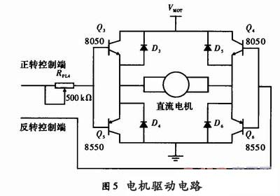 q5,q6为8550(pnp)型功率三极管,4个三极管组成桥式驱动电路.