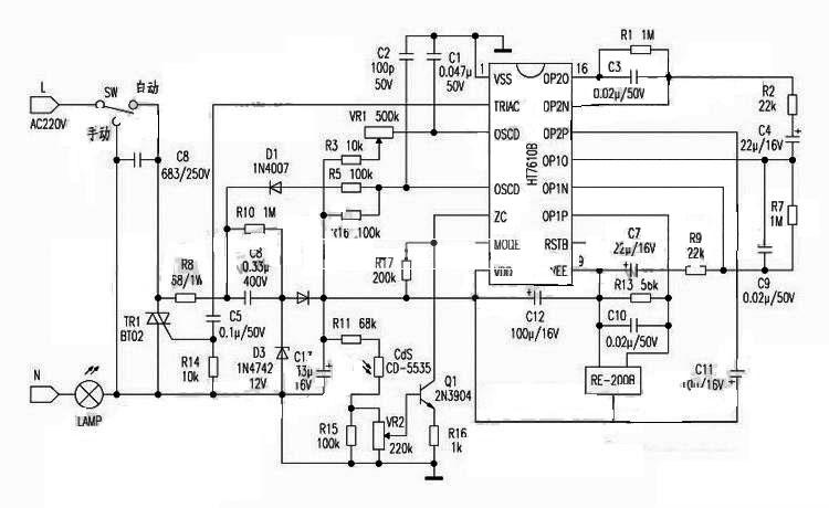 基于ht7610b的人体感应开关具体电路图如下所示