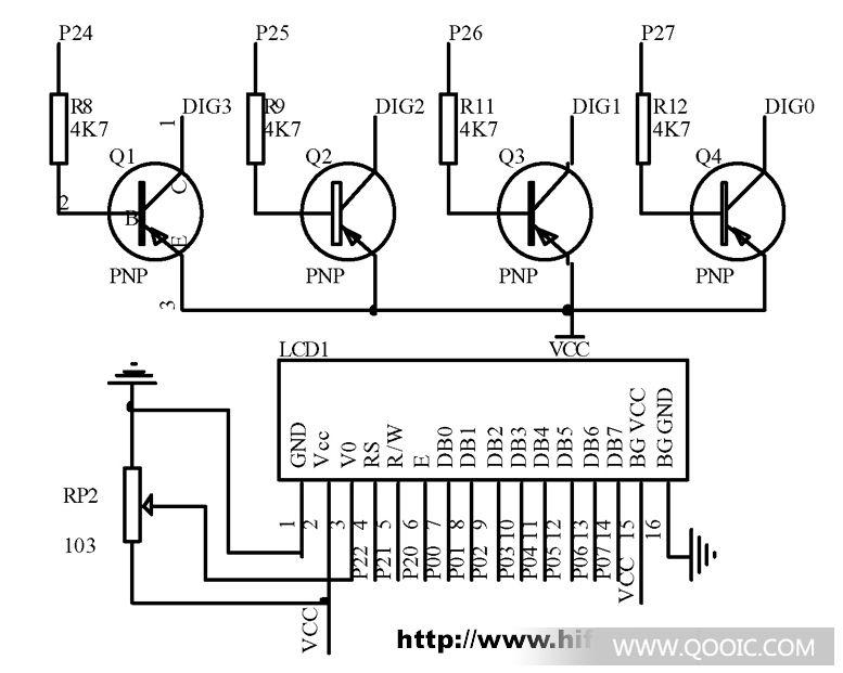 段码用74ls245驱动,位码用pnp三极管q1,q2,q3,q4驱动,电路图中标号lcd