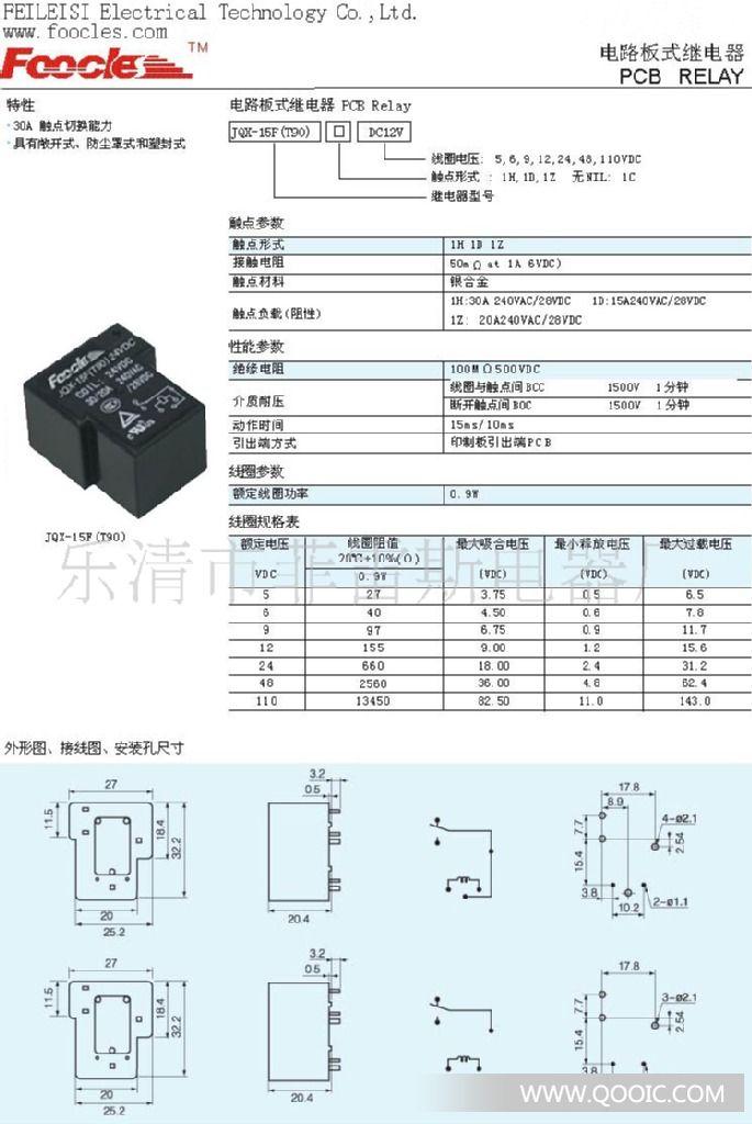 继电器jqx-15f(t90)