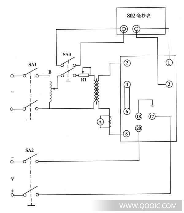 电流继电器动作时间的测试按图2接线,合上开关sa3,分别突加1.