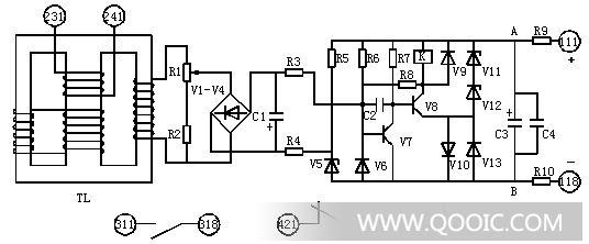 速饱和变流器的导磁体是一个三柱式铁芯,在导磁体的中柱上放置工作绕组和短路绕组,此短路绕组与左侧边柱上的短路绕组 (对左侧窗口来说) 同相串联,右侧边柱上放置二次绕组。速饱和变流器结构原理如图4。在速饱和变流器的工作绕组中流过正弦电流时,短路绕组中将产生感应电势和相应的短路电流因而产生了相应的去磁磁势,使由工作绕组所产生的磁通部分地被抵消。这相当于只有一部分工作绕组产生磁通,亦即相当于减少了一次绕组的匝数。