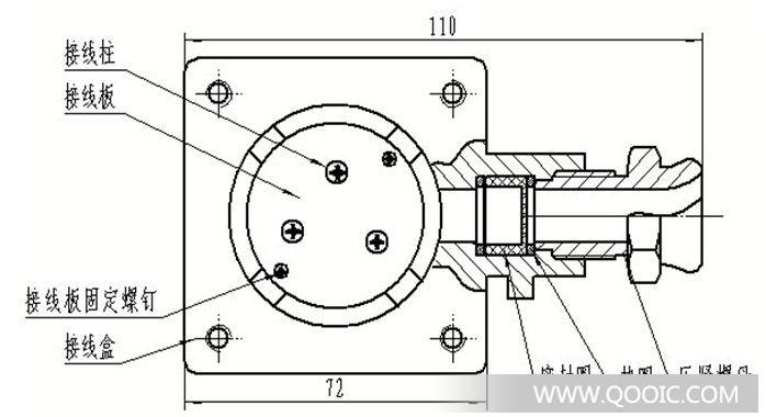 隔爆接线盒内部结构图:;