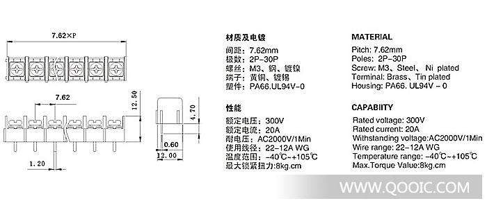 供应威德米勒dg7.62l栅栏式接线端子
