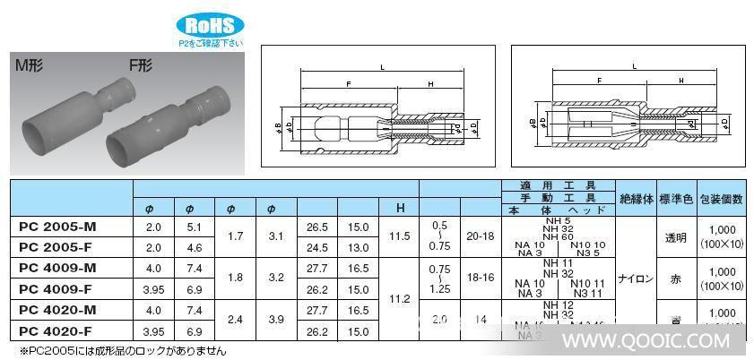 日本nichifu品牌插头式接线端子pc4009-m