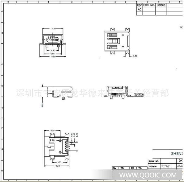 专业生产: USB插座 MiNI 5P USB插座规格书: 1,RATING (額 定 值) :DC30V 0.5A 2,接觸電阻;100mΩMAX.30毫歐以下。 3,絕緣電阻:100MΩ MIN.100兆歐以上。 4,耐電壓:輸入AC 500V(50-60Hz)電壓,1分鐘感度電流為0.5mA,按以下 接觸方法測試: (1)不接觸的排腳之間.