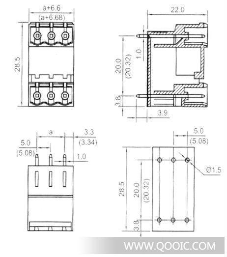 0/5.08双层插拔式pcb板接线端子台 连接器 针座